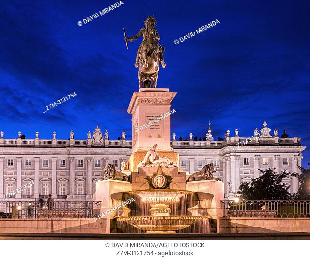 Statue of Phillip 4th of Spain and Royal Palace. Madrid, Spain