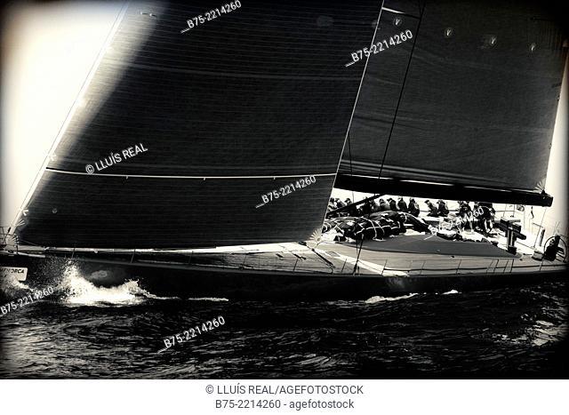 Hanuman. Maxi Race Menorca. View of a sailboat race Class J, during a competition in the Mediterranean Sea, Menorca, Balearic Islands, Spain