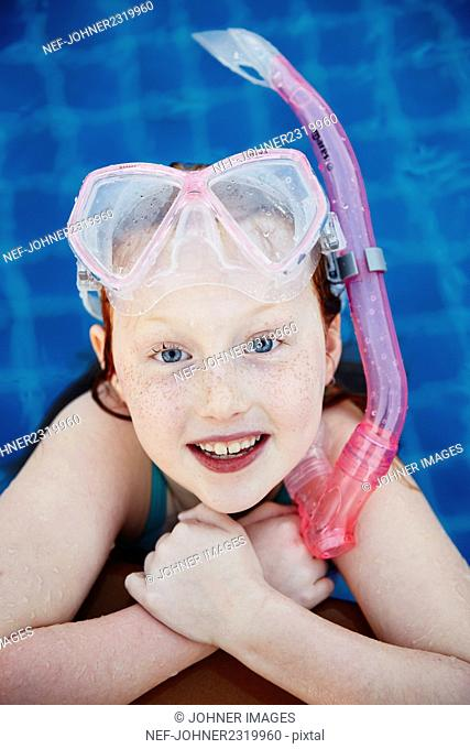 Portrait of girl with scuba mask