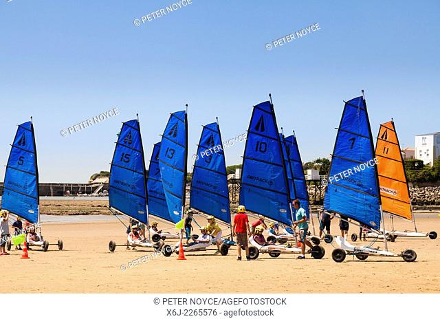 Group of children learning sand yachting on a beach