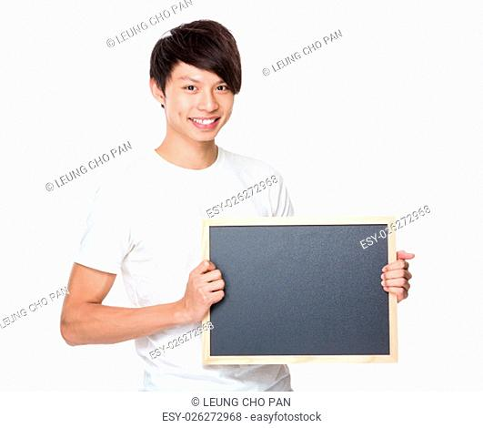 Young university student show with blackboard