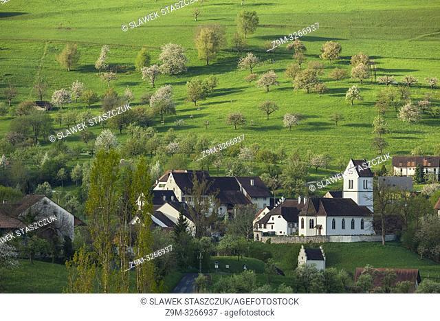 Spring morning in Oltingen village in Basel-Country canton, Switzerland