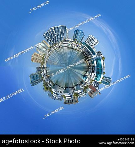 Little Planet effect on skyline of Sarasota Florida USA from Bayfront Park