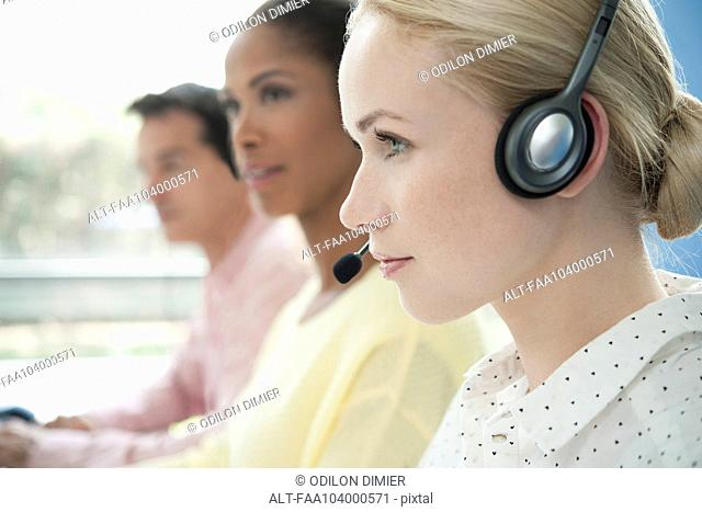 Telemarketers at work in call center