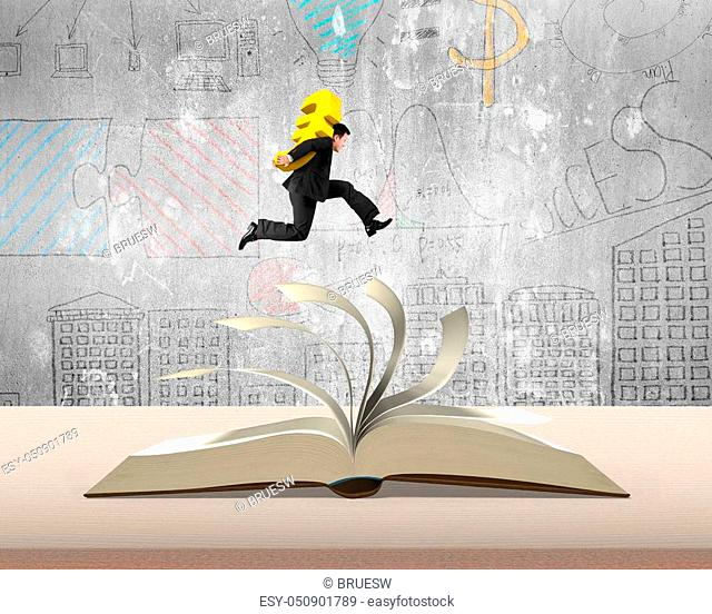 Carrying Euro money sign jumping on top of flipping pages of open book on table in office with doodles concrete wall background, 3D illustration