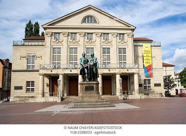 The Goethe-Schiller Monument in front of the Deutsches Nationaltheater and Staatskapelle Wiemar, Weimar, Germany, Europe