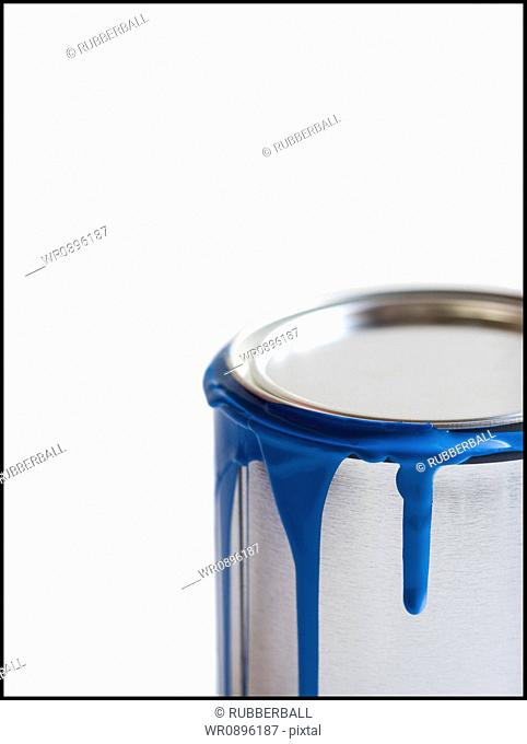 Detailed view of dripping paint can