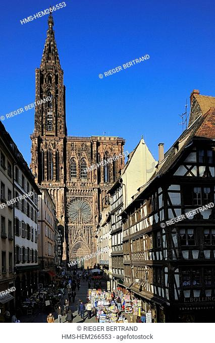 France, Bas Rhin, Strasbourg, old town listed as World Heritage by UNESCO, the Rue Merciere near the Cathedral of Our Lady of Strasbourg