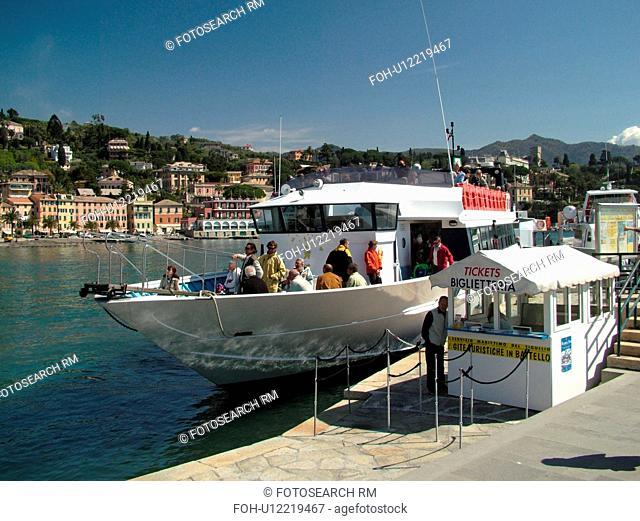Santa Margherita Ligure, Liguria, Italy, Riviera di Levante, Ligurian Riviera, Europe, Excursion boat docked in the harbor of the resort town of Santa...
