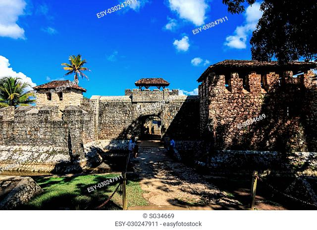 Entrance gate to Castillo de San Felipe de Lara, a fort located at the entrance to Lago Izabal in Rio Dulce, Guatemala. It was built by the Spanish in 1644 to...