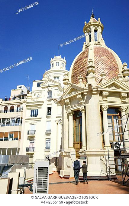 Terrace of the City Hall of Valencia, Mascleta de las Fallas, Valencia, Spain