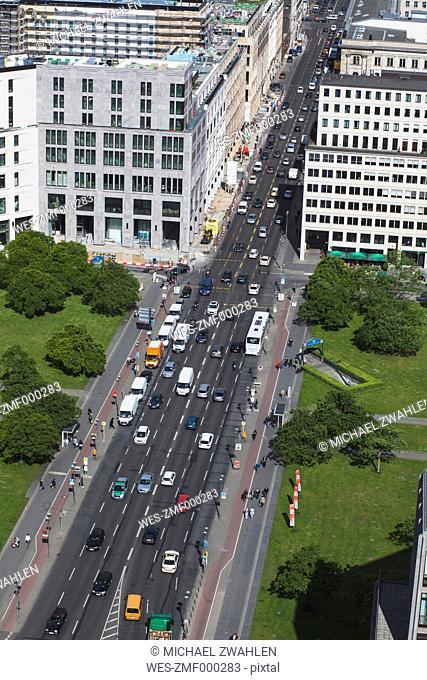 Germany, Berlin, Leipziger Strasse with traffic, bird's view