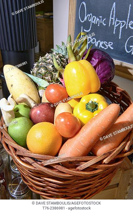 Still life with organic vegetables, Bangkok, Thailand