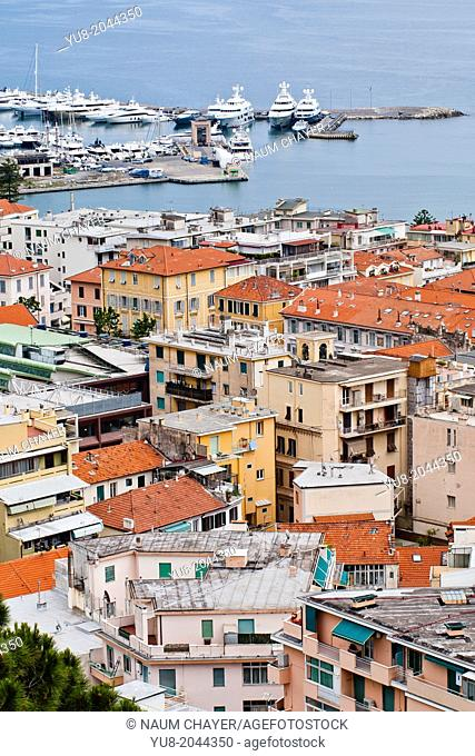 Top view of San Remo with city and lagoon, Italy