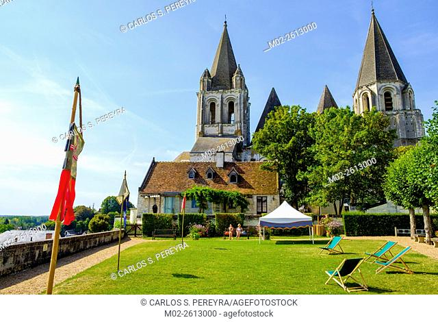Saint-Ours collegiate church in the medieval city of Loches, Indre-el-Loire, Loire Valley, France