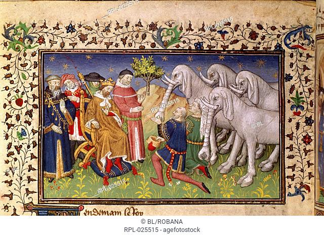 Alexander given white elephants, Miniature only Alexander the Great presented with white elephants. Image taken from La Vraye Histoire du Bon Roy Alixandre The...