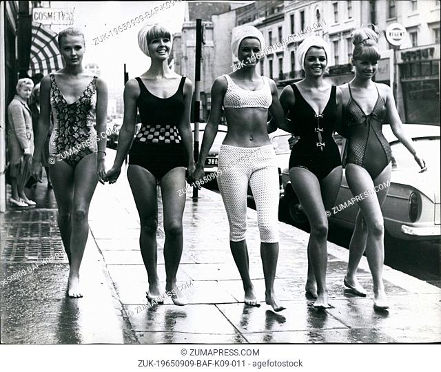 Sep. 09, 1965 - Swim And Beachwear Collection On Ice: Today at the Queen's Ice Skating club, the first ever swim and beachwear collection to be shown on ice was...
