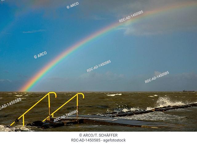 Rainbow, Hamburger Hallig, Nordfriesland, Schleswig-Holstein, Germany