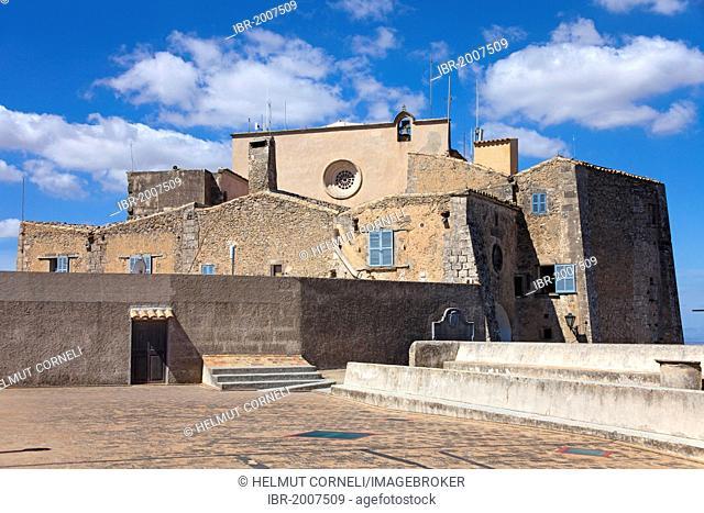 Santuari de Sant Salvador monastery, Santuario de San Salvador, founded in 1342, on Puig de Sant Salvador mountain, 509m, near Felanitx, Majorca