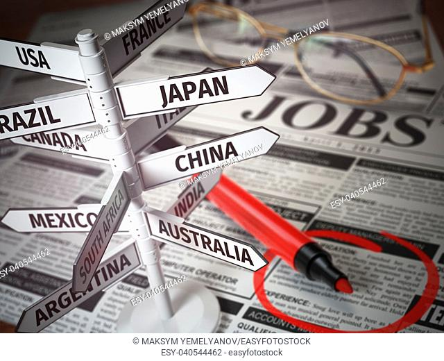 Work and travel immigration opportunity concept. Search for a job. Newspaper with jobs advertisement and signboard with names of countries