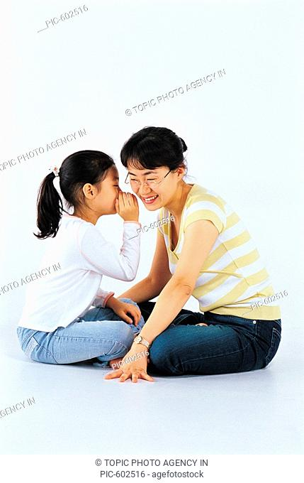 Mother And Daughter Whispering,Korean