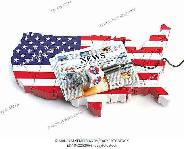 News of USA, press and journalism concept. Microphone and newspaper on the map in colors of the flag of USA. 3d illustration