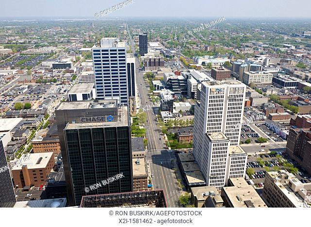 Aerial view of downtown Columbus, Ohio looking east down Broad Street from the James A  Rhodes State Office Building