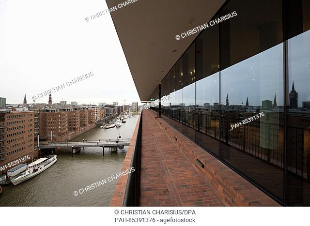 The outside plaza with a view of HafenCity and the Speicherstadt seen during a press tour in the Elbphilharmonie in Hamburg, Germany, 01 November 2016