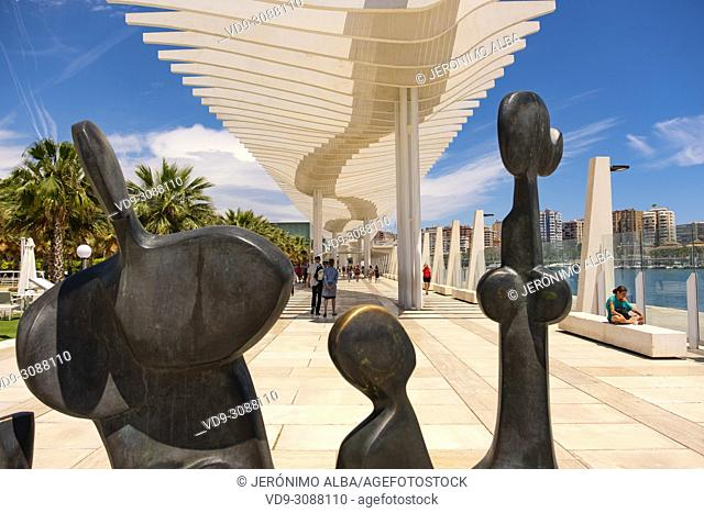 Modern sculptures. Muelle Uno. Dock One. Seaside promenade at port, Malaga city. Costa del Sol, Andalusia. Southern Spain Europe