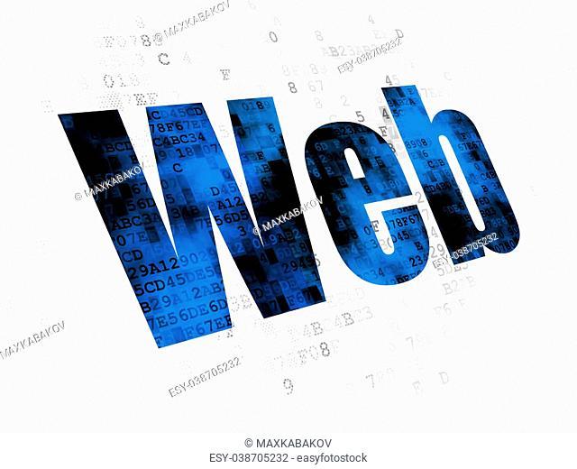 Web development concept: Pixelated blue text Web on Digital background