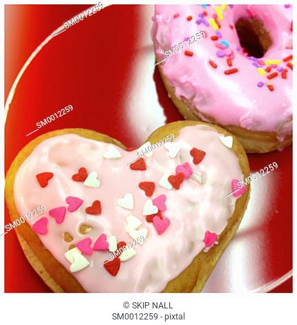 Fresh doughnuts for Valentines Day