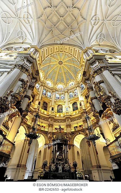 Vaulted ceiling and altar area, Cathedral of Santa Maria de la Encarnacion, Granada Cathedral, Granada, Andalucia, Spain, Europe