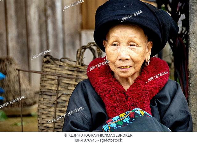Old Woman Of The Mien Hill Tribe Wearing Traditional Clothing In Nan Province Thailand Asia Stock Photo Picture And Rights Managed Image Pic Ibr 1876946 Agefotostock