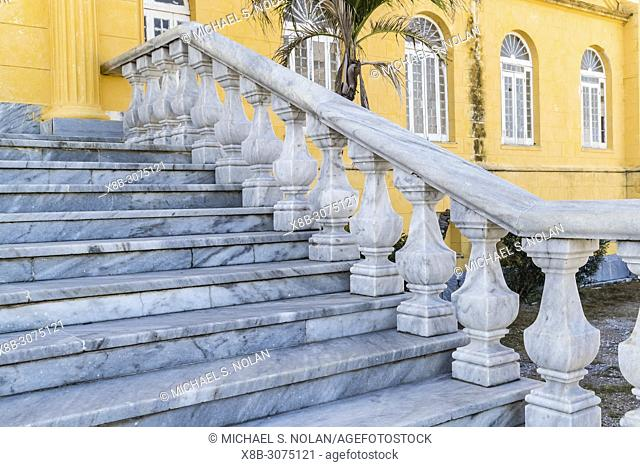 Exterior view of the marble staircase entrance to Presidio Modelo, Model Prison, Juventud, Cuba