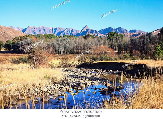 Winters view of a stream meandering through the foothills of the Southern Drakensberg  South Africa