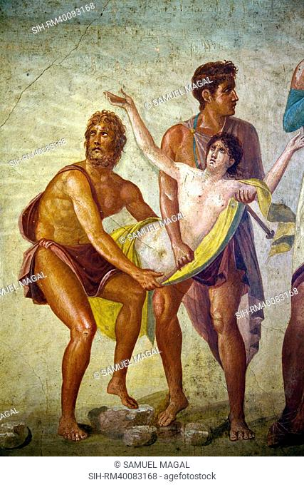 Iphigeneia is dragged to the altar by two soldiers as a sacrificial offering to Artemis. One either side stand her father, King Agamemnon