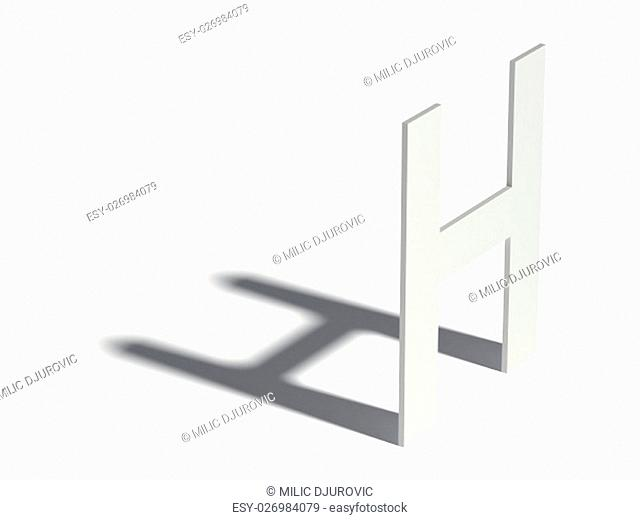 Drop shadow font. Letter H. 3D render illustration isolated on white background