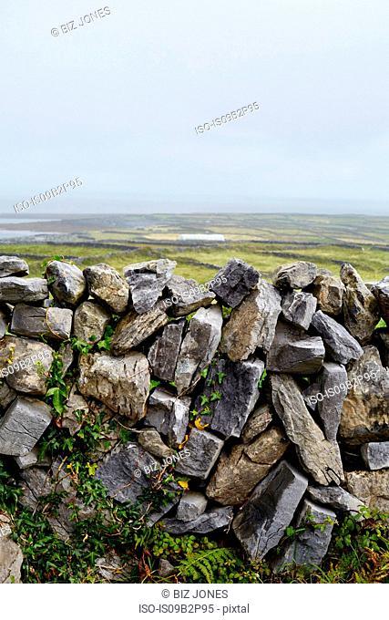 Stone wall and rural scene, Inishmore, Ireland
