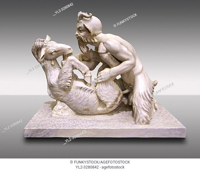 """""""""""Pan & Goat"""" Roman Mythical erotic sculpture from Pompeii. Naples Archaeological inv no: 27709"
