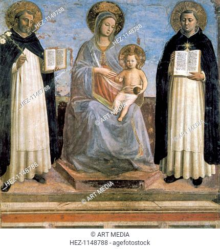 'Virgin and Child with St Anthony of Padua and St Thomas Aquinas', early 15th century. St Thomas Aquinas (1226-1274), called Doctor Angelicus