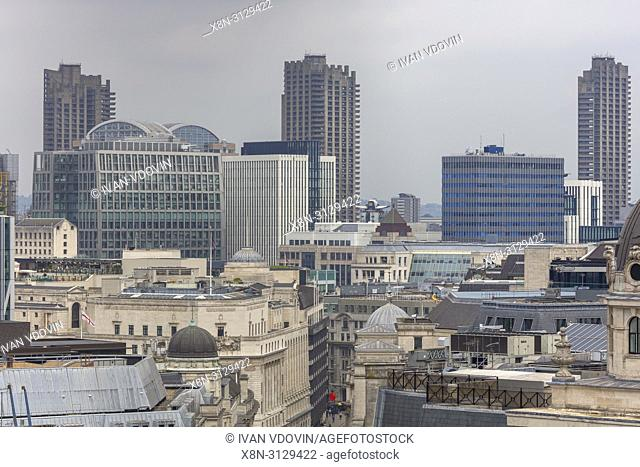 King William Street, City of London, Cityscape from Monument to the Great Fire of London, London, England, UK