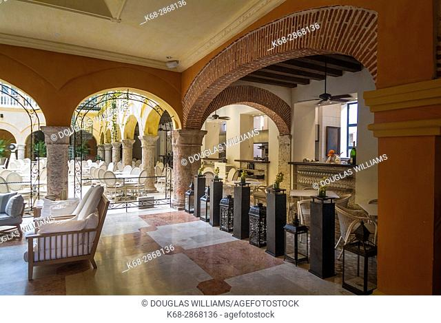 Hotel lobby in Cartagena, Colombia, South America