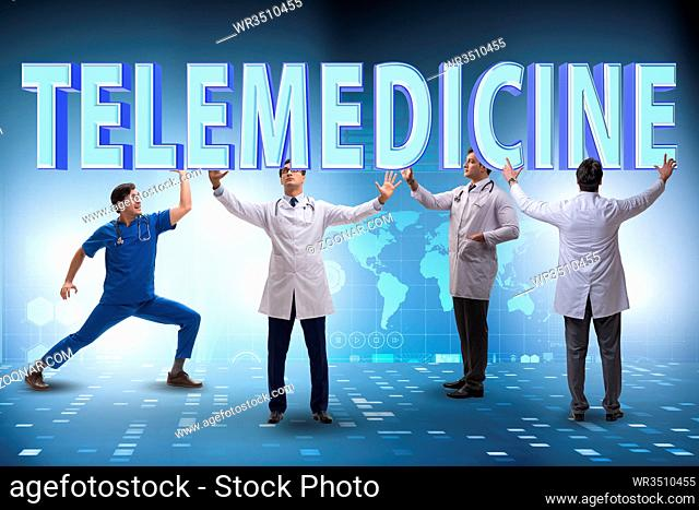 Telehealth concept with doctor doing remote check-up