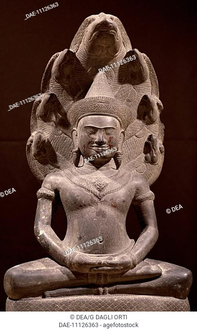 Buddha sitting in Samadhi (meditation) on Naga (snake), stoneware sculpture in the Angkor Wat style, from Preah Khan in Kampong Svay, Cambodia