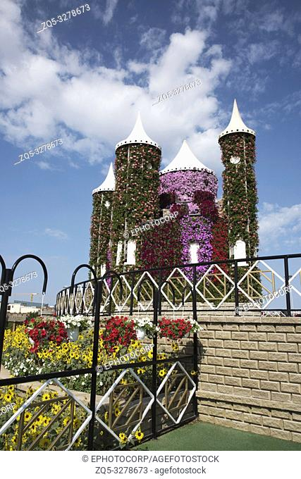 Castle of flowers, Dubai Miracle Garden a flower garden, Dubailand, Dubai, United Arab Emirates