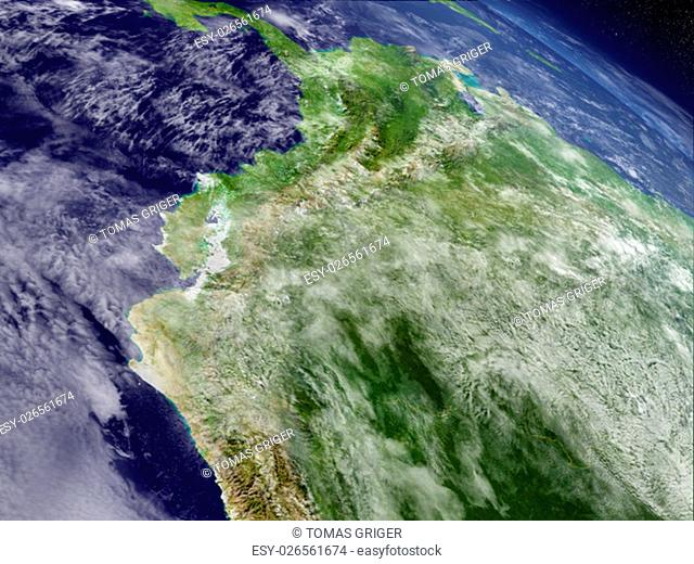 Ecuador with surrounding region as seen from Earth's orbit in space. 3D illustration with highly detailed realistic planet surface and clouds in the atmosphere