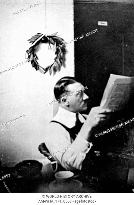 Adolf Hitler (1889 - 1945); German politician, demagogue. in prison at Landsburg 1923. leader of the Nazi Party (Nationalsozialistische Deutsche Arbeiterpartei;...