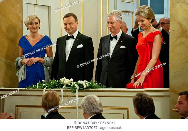 The Royal £azienki Museum, Warsaw 14th October, 2015. Official visit to Poland paid by His Majesty the King of the Belgians and Her Majesty the Queen of the...