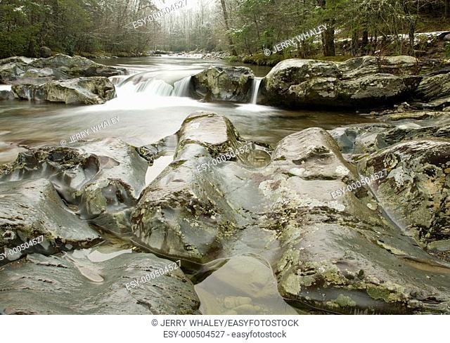 Winter, Little Pigeon River, Greenbrier Area, Great Smoky Mtns Nat Park, TN