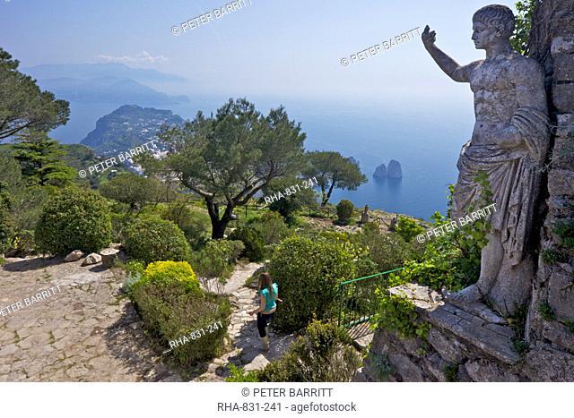 Statue and gardens in early morning summer sunshine, Monte Solaro, Isle of Capri, Neapolitan Riviera, Campania, Italy, Europe